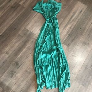 Vicicollection Green wrap dress short sleeve